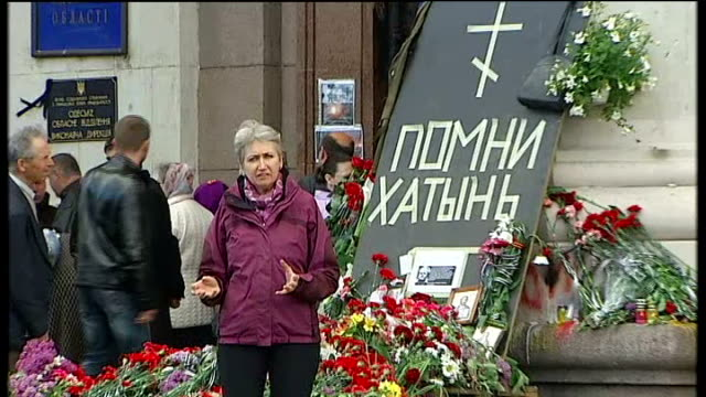 fighting intensifies in east of country Odessa Trades Union building with tributes outside Floral tributes on ground Aftermath of riots with wreckage...
