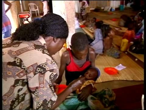Humanitarian crisis ITN ANGOLA Kalala Children sitting eating in refugee camp CMS Child eating LMS Man sitting on pile of straw LMS Group of injured...