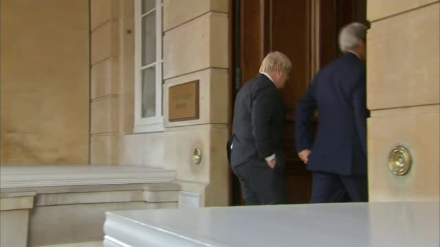 Islamic State cedes control of Dabiq as Boris Johnson and John Kerry meet in London ENGLAND London Whitehall Foreign and Commonwealth Office EXT...