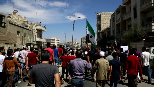 Millions trapped in Idlib as President Putin rejects ceasefire SYRIA Idlib Province EXT Various of opposition to President Bashar al Assad taking...