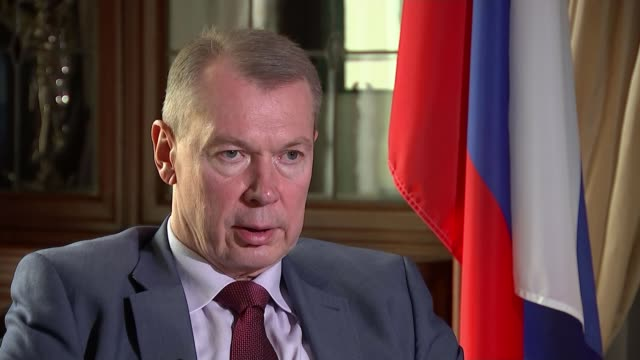 Russia aiming to 'unmask' video of Douma chemical attack as fake NETHERLANDS The Hague EXT Russian flag flying outside Russian Embassy/ Reporter...