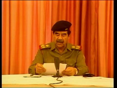 saddam's hiding place/last broadcast; aptn - no resale. iraq: baghdad: cms saddam hussein recording speech - saddam hussein stock videos & royalty-free footage