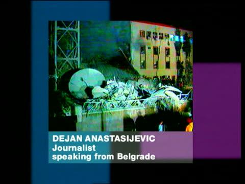 Serbian TV Station Bombed ITN YUGOSLAVIA SERBIA Belgrade STILL bombed TV station PHONO Dejan Anastasijevic SOT NATO's choice of targets more and more...