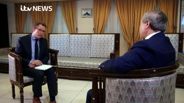 Syrian Foreign Minister accuses Britain of faking chemical attack SYRIA Damascus INT Faisal Mekdad interview SOT