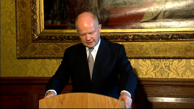 pledges financial aid to opposition and human rights groups; england: london: int william hague mp press conference sot - all the support we provide... - co ordination stock videos & royalty-free footage