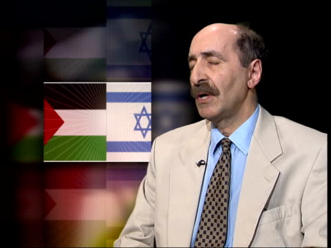 Conflict/Politics Colin Powel visit ITN ENGLAND London Hazhir Teimourian interviewed about 'road map' SOT