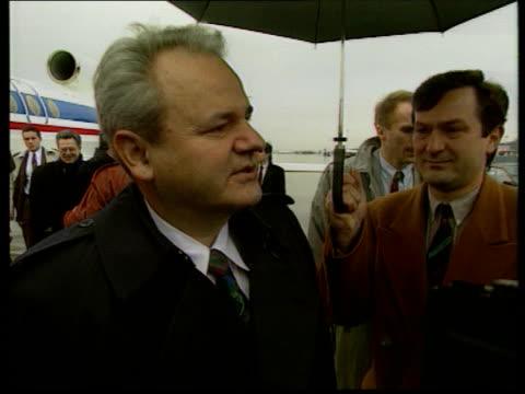 serbian president milosevic arrives for bosnian peace talks cf tape no longer availabe switzerland geneva ms serbian president slobodan milosevic out... - slobodan milosevic stock videos and b-roll footage