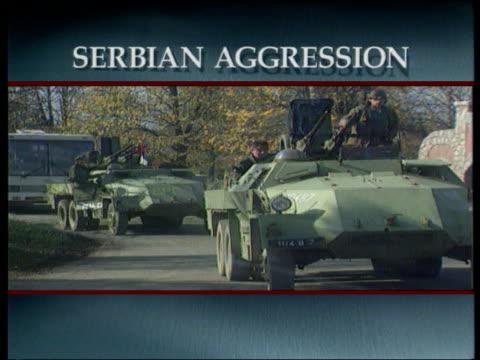 serbian president milosevic arrives for bosnian peace talks; ext/film seqs with graphic surround bosnia- seq apcs along ) tx.16.11.92/itn herzegovina... - serbia stock videos & royalty-free footage