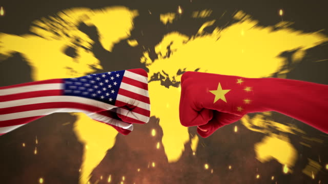 4k conflicts between countries - america and china - green screen - national landmark stock videos & royalty-free footage