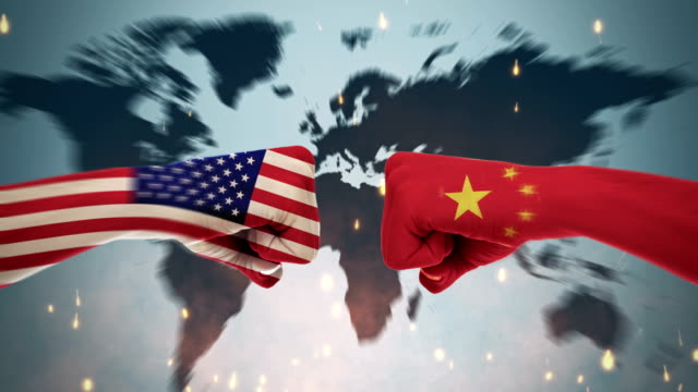 4k conflicts between countries - america and china - economia video stock e b–roll