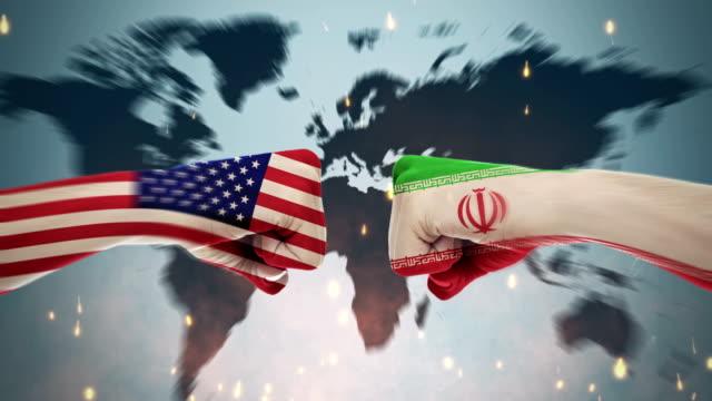 vidéos et rushes de 4k de conflits entre pays - amérique et iranienne - drapeau américain
