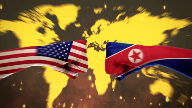 4k conflicts between countries - america and north korea - green screen - human limb stock videos & royalty-free footage