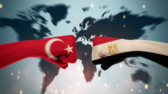 4k konflikter mellan länder, turkiet och egypten - dominering bildbanksvideor och videomaterial från bakom kulisserna