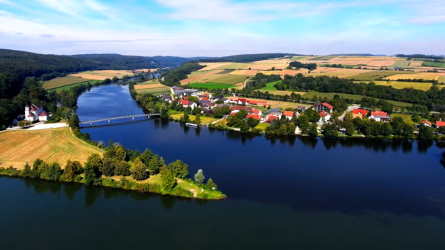 confluence of danube and naab rivers in bavaria - river danube stock videos & royalty-free footage