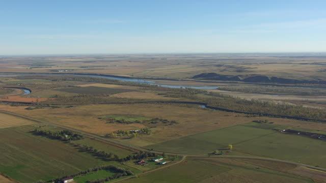 WS AERIAL POV Confluence of Missouri and Knife River / Stanton, North Dakota, United States