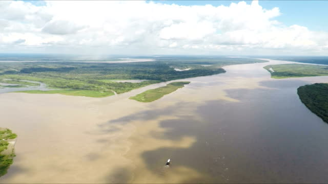 confluence of the amazon, maranon and ucayali river, peru, south america - amazon region stock videos & royalty-free footage