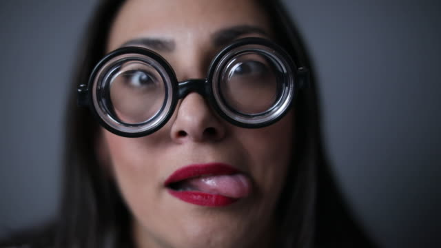 confused nerd with funny glasses - red lipstick stock videos & royalty-free footage