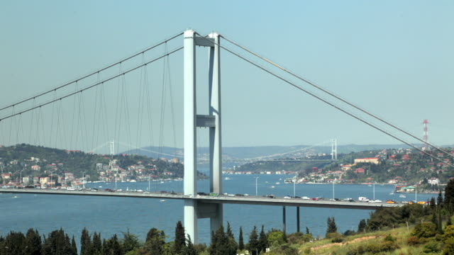 ws ha congested traffic on bosphorus bridge, istanbul, turkey - july 15 martyrs' bridge stock videos & royalty-free footage