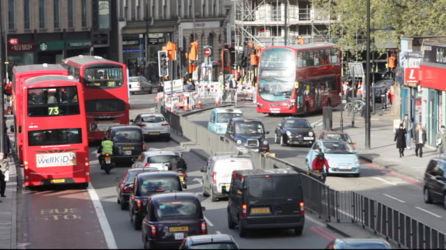 Congested traffic on Euston Road in London, UK.