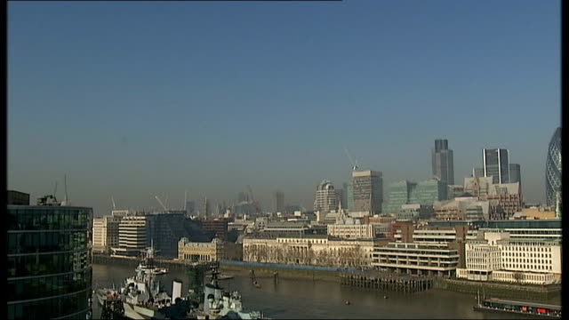 CO2 congestion charge / London skyline EXT London skyline showing smoke rising from buildings / High rise buildings of London skyline PULL OUT to...