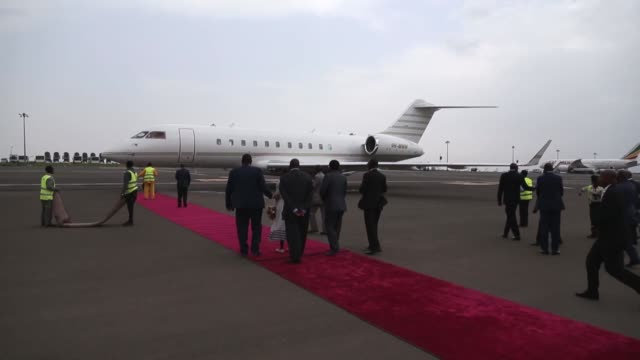 congo president denis sassou nguesso is welcomed by ethiopian minister for livestock and fisheries fekadu beyene at bole international airport as he... - government minister stock videos & royalty-free footage