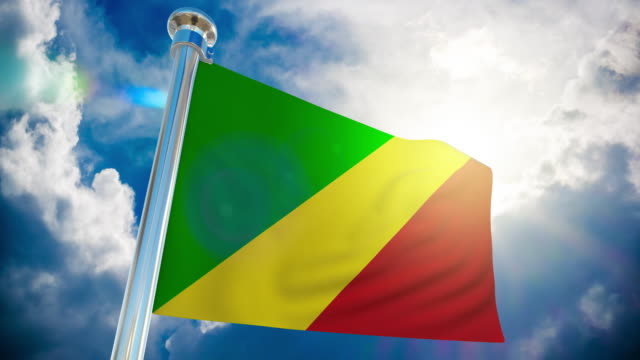 4k - congo republic flag   loopable stock video - country geographic area stock videos & royalty-free footage