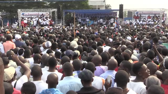 congo's opposition leader calls for elections to be held this year at a rally of tens of thousands of supporters and demands president joseph kabila... - democratic republic of the congo stock videos & royalty-free footage