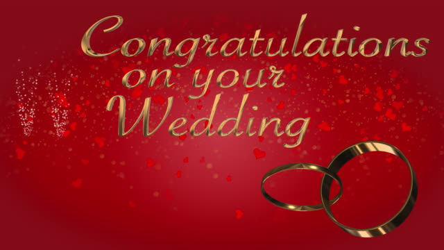 Congratulations on your wedding with two linked wedding rings loop