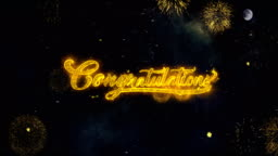 Congratulations  Text Wishes Reveal From Firework Particles Greeting card.