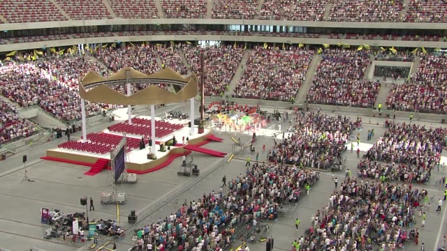 congregation at national stadium - warsaw stock videos & royalty-free footage