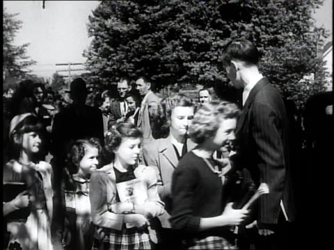 1950 montage congregation entering a church / southville, kentucky, united states - congregation stock videos and b-roll footage