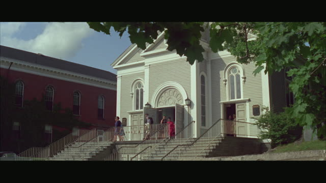 ws congregation is letting out in front of old boston church / boston, massachusetts, usa - congregation stock videos & royalty-free footage