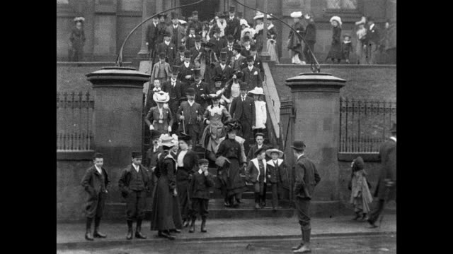 1901 congregation leaving st. mary's church, dumfries - galloway scotland stock videos & royalty-free footage