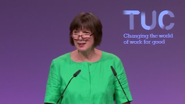 Frances O'Grady speech Frances O'Grady speech continued SOT / congress applause at end of speech