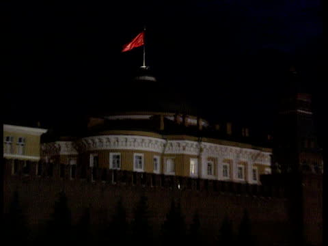 congress abolished; itn ussr: moscow night communist flag flying pull out kremlin int mikhail gorbachev standing with members of politburo gv... - boris yeltsin stock videos & royalty-free footage