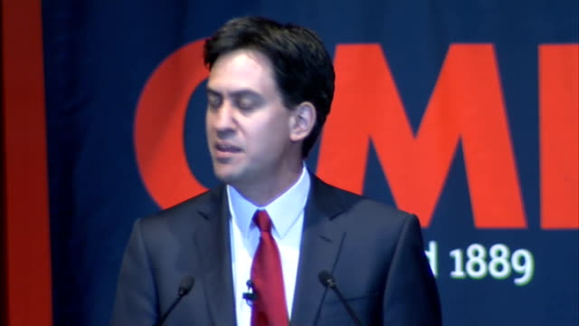 Ed Miliband speech ENGLAND Nottingham INT Ed Miliband MP speech SOT I want to pay tribute to the fantastic work that the members of the GMB have done...