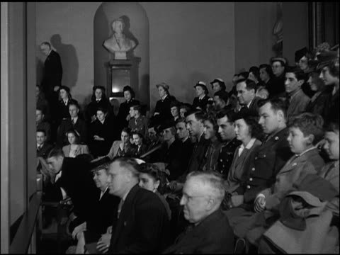 vídeos de stock e filmes b-roll de s congress in session int house of representatives visitors in gallery ws unidentified male politician behind podium td congressmen sitting in seats... - 1947