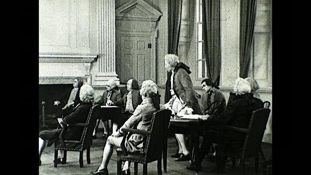 congress meeting on june 7, 1776; representatives sitting down around the tables and john hancock letting richard henry lee speak. historical... - 独立宣言点の映像素材/bロール