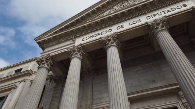 congress of deputies / parliament building in madrid, spain - ornate stock videos & royalty-free footage
