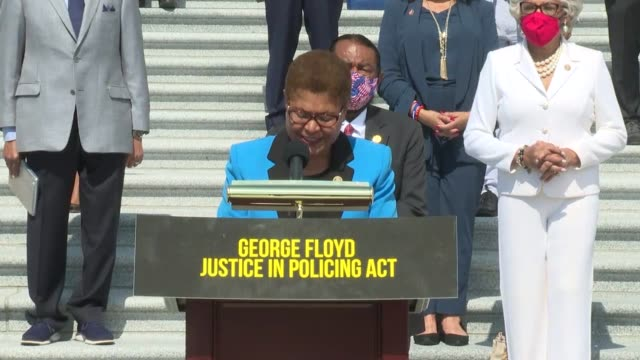 congressional black caucus chairwoman karen bass of california says at a news event at the base of the east front steps of the us capitol building as... - reform stock-videos und b-roll-filmmaterial
