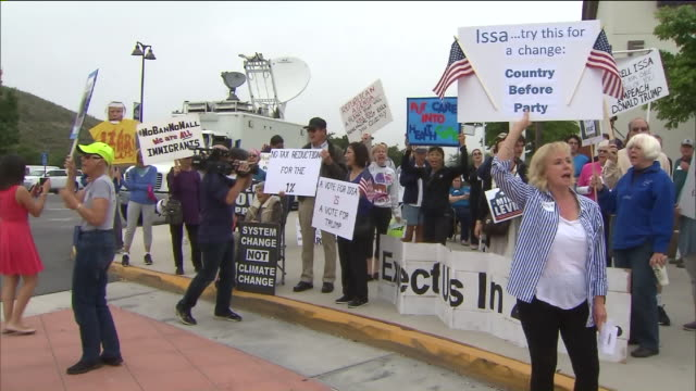 ktla congressman darrell issa's town hall meeting protest - town hall meeting stock videos and b-roll footage