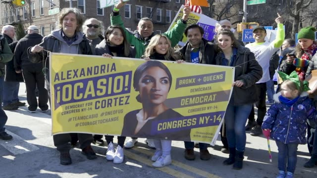 Congresswoman Alexandria OcasioCortez and other politicians during the annual the St Patrick's Day Parade via Skillman Avenue in Sunnyside Queens New...