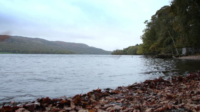 Coniston Water, in the English Lake District, in Autumn.