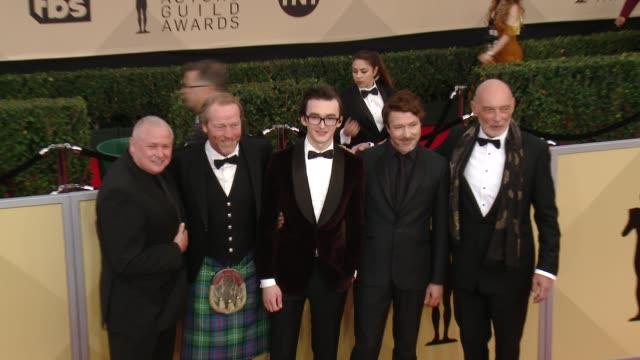 Conleth Hill Iain Glen Isaac Hempstead Wright Aidan Gillen and James Faulkner at the 24th Annual Screen Actors Guild Awards at The Shrine Auditorium...