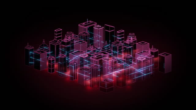 connected city grafikanimation - neon - wireless technology stock-videos und b-roll-filmmaterial
