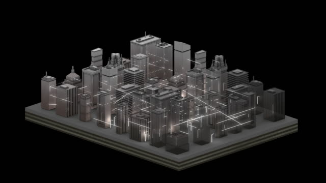 connected city graphic animation - silver - solution stock videos & royalty-free footage