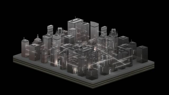 stockvideo's en b-roll-footage met grafische animatie in verbonden stad - zilver - oplossen