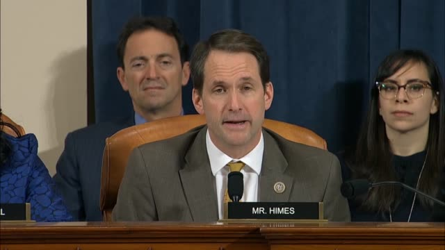 connecticut congressman jim himes questions us ambassador to the eu gordon sondland at a sixth public impeachment inquiry hearing of the house select... - witness stock videos & royalty-free footage