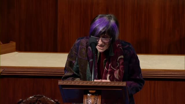 connecticut congresswoman rosa delauro says in debate on a bill implementing the usmca trade agreement that she was focused on crafting effective and... - outsourcing video stock e b–roll