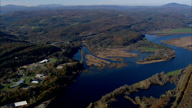 connecticut river  - aerial view - vermont,  windham county,  united states - vermont stock videos & royalty-free footage